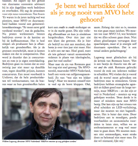 Artikel 'de status van MVO'. December editie Friends in Business